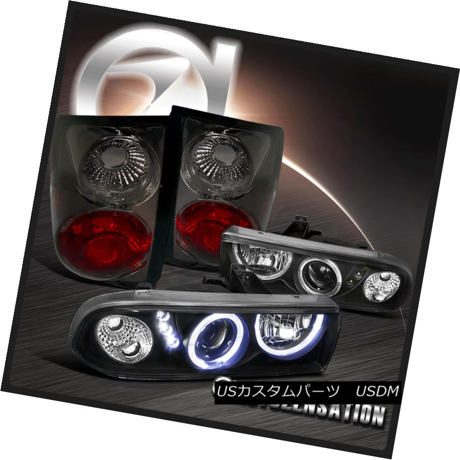 テールライト 1998-2004 Chevy S10 Black Halo SMD LED Projector Headlights+Smoke Tail Lamp 1998-2004 Chevy S10 Black Halo SMD LEDプロジェクターヘッドライト+スモーキー keテールランプ
