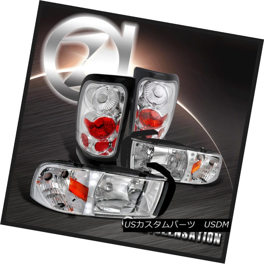 テールライト 94-01 Ram 1500/2500/3500 Chrome LED DRL Headlights+Clear Tail Brake Lamps 94-01 Ram 1500/2500/3500 Chrome LED DRLヘッドライト+ Cle arテールブレーキランプ