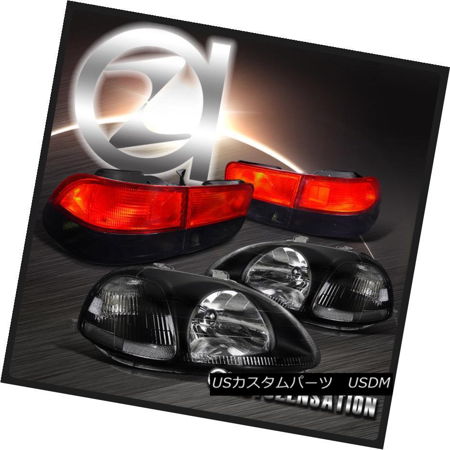 テールライト Fit Honda 96-98 Civic 2dr JDM Crystal Black Headlights+Red Smoke Tail Lamps フィットホンダ96-98シビック2dr JDMクリスタルブラックヘッドライト+レッド煙テールランプ