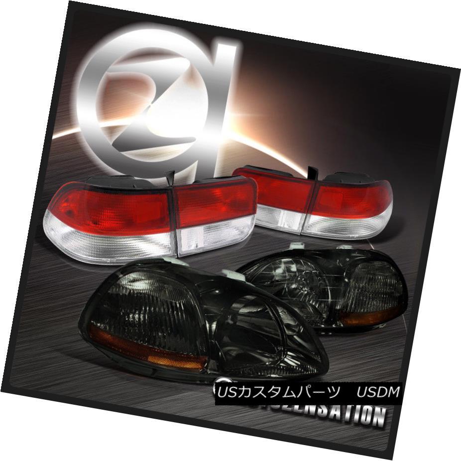 テールライト Fit Honda 96-98 Civic 2dr JDM Crystal Smoke Headlights+Red Tail Lamps フィットホンダ96-98シビック2dr JDMクリスタルスモークヘッドライト+レッドテールランプ