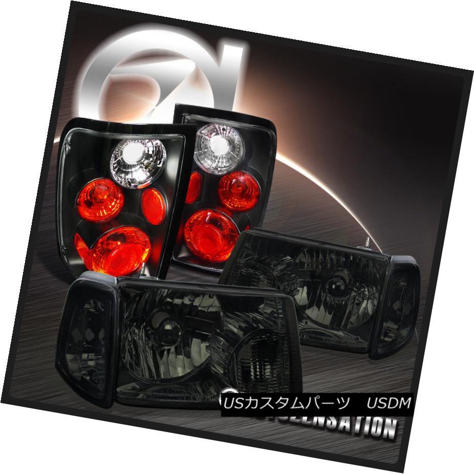 テールライト 01-05 Ford Ranger Crystal Smoke Headlights+Corner Lamps+Black Tail Brake Lights 01-05フォード・レンジャークリスタル・スモーク・ヘッドライト+オレンジ・ランプ+ブラック・テール・ブレーキ・ライト