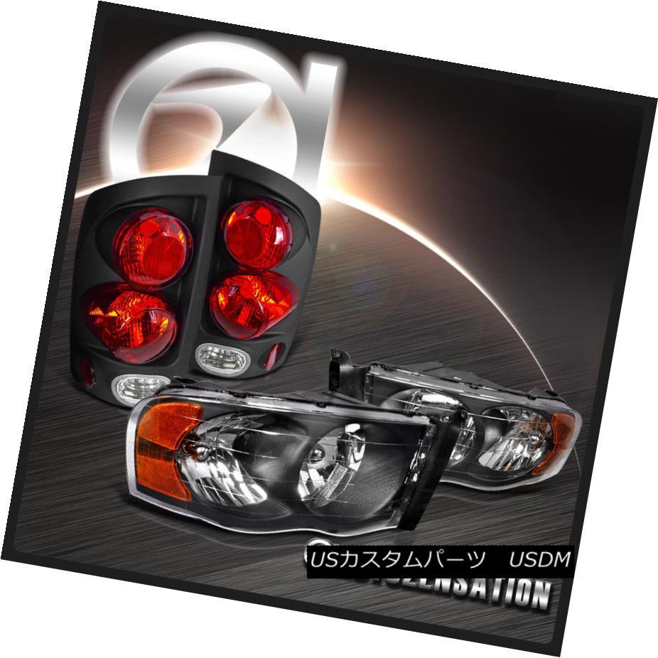 テールライト 03-05 Ram 1500/2500/3500 Black Diamond Headlights+3D Retro Style Tail Lamps 03-05 Ram 1500/2500/3500ブラックダイヤモンドヘッドライト+ 3Dレトロスタイルテールランプ
