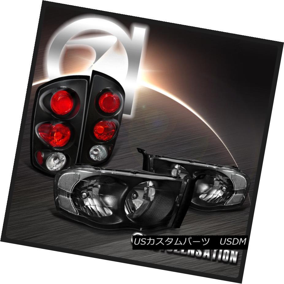 テールライト Dodge 02-05 Ram 1500 03-05 Ram 2500/3500 Black Headlights+Tail Brake Lamps ドッジ02-05ラム1500 03-05 Ram 2500/3500ブラックヘッドライト+タイ lブレーキランプ