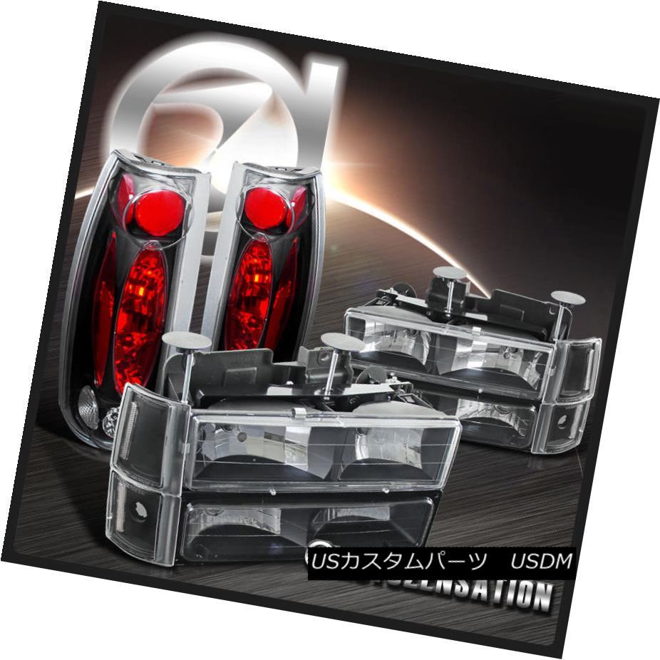 テールライト 94-98 GMC Sierra Black Clear Headlights+Bumper Corner Lamps+Clear Tail Lights 94-98 GMC Sierra Blackクリアヘッドライト+ Bum 1コーナーランプ+クリアテールライト