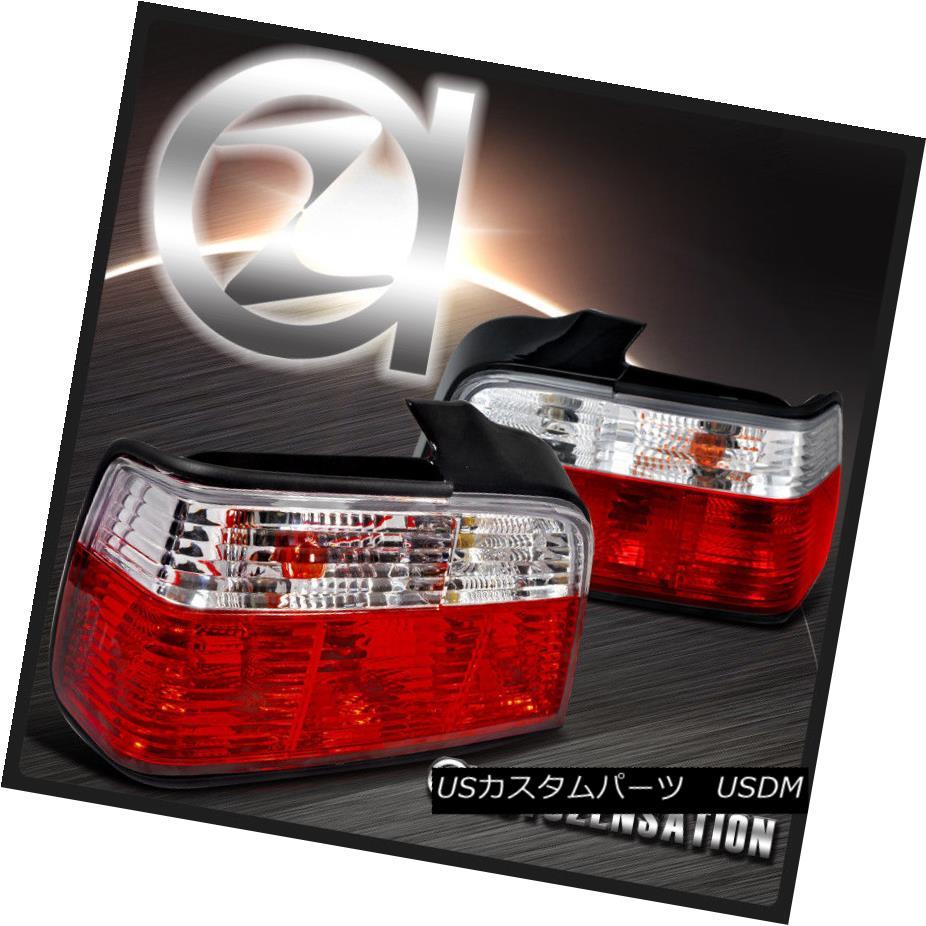テールライト 92-98 BMW E36 3-Series 4Dr Red/Clear Tail Lights Rear Brake Lamp 92-98 BMW E36 3シリーズ4Drレッド/クリアテールライトリアブレーキランプ