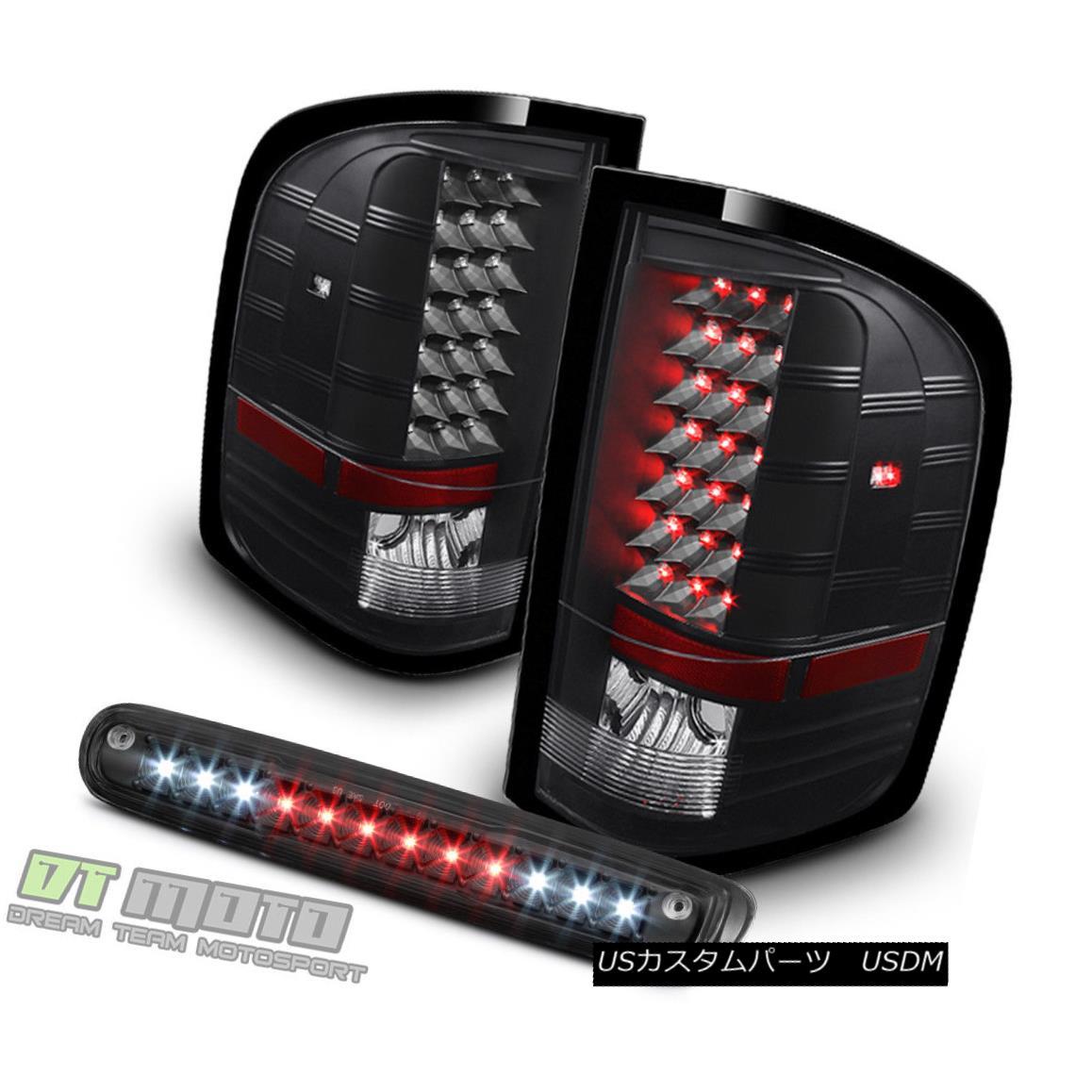 テールライト Blk 2007-2013 Chevy Silverado 1500 2500 3500 LED Tail Lights+LED 3rd Brake Lamp Blk 2007-2013 Chevy Silverado 1500 2500 3500 LEDテールライト+ LED第3ブレーキランプ