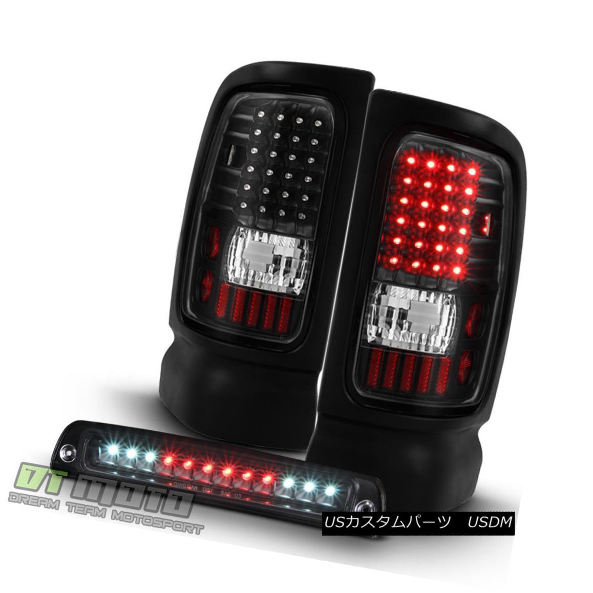 テールライト Black 1994-2001 Dodge Ram 1500 2500 3500 LED Tail Lights+LED 3rd Brake Lamp Set Black 1994-2001 Dodge Ram 1500 2500 3500 LEDテールライト+ LED第3ブレーキランプセット