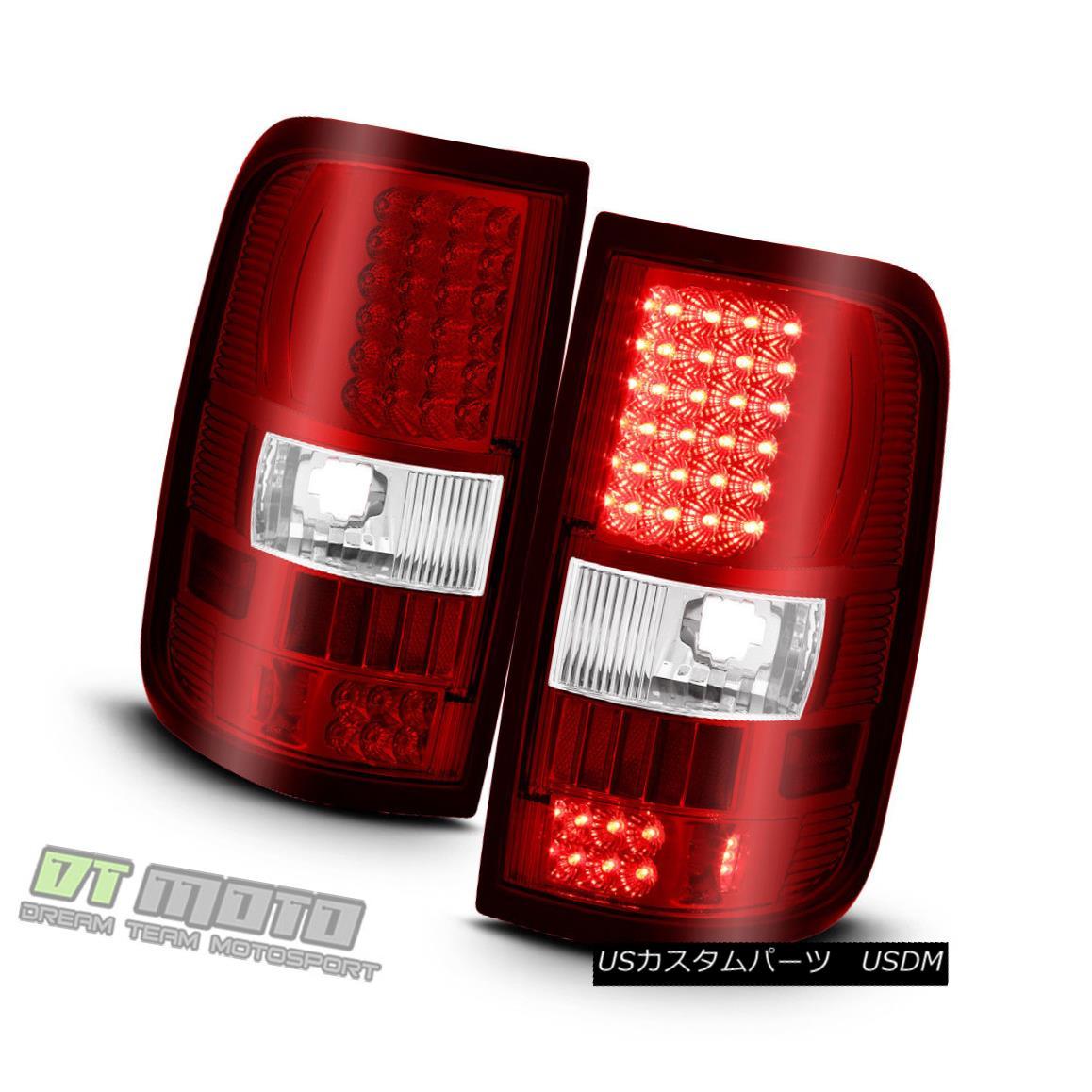 テールライト 2004-2008 Ford F150 F-150 Truck Red LED Tail Lights Brake Lamps 04-08 Left+Right 2004-2008フォードF150 F-150トラックレッドLEDテールライトブレーキランプ04-08左+右