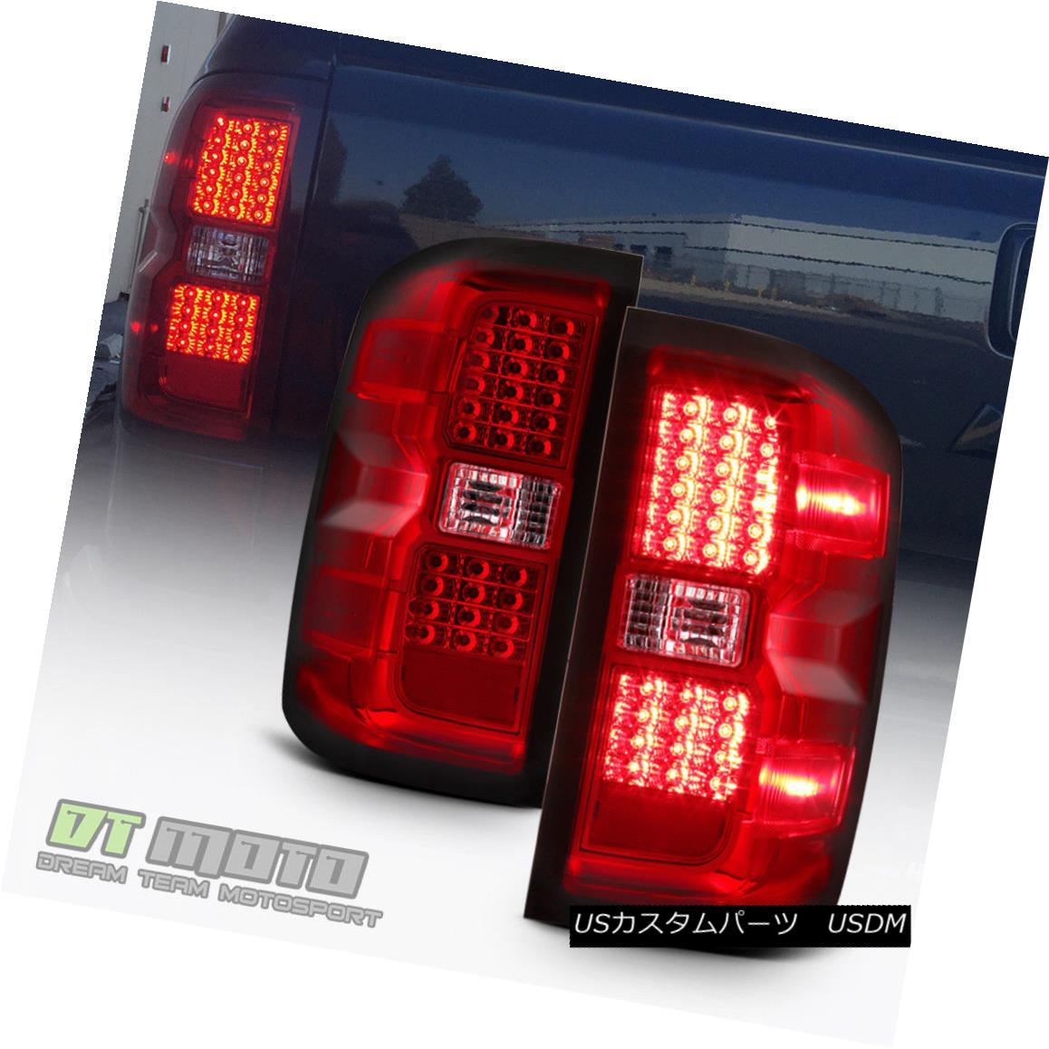 テールライト 2014-2017 Chevy Silverado Exotic Red LED Rear Tail Lights 14-17 Brake Lamps 2014-2017 Chevy Silverado Exotic Red LEDリアテールライト14-17ブレーキランプ