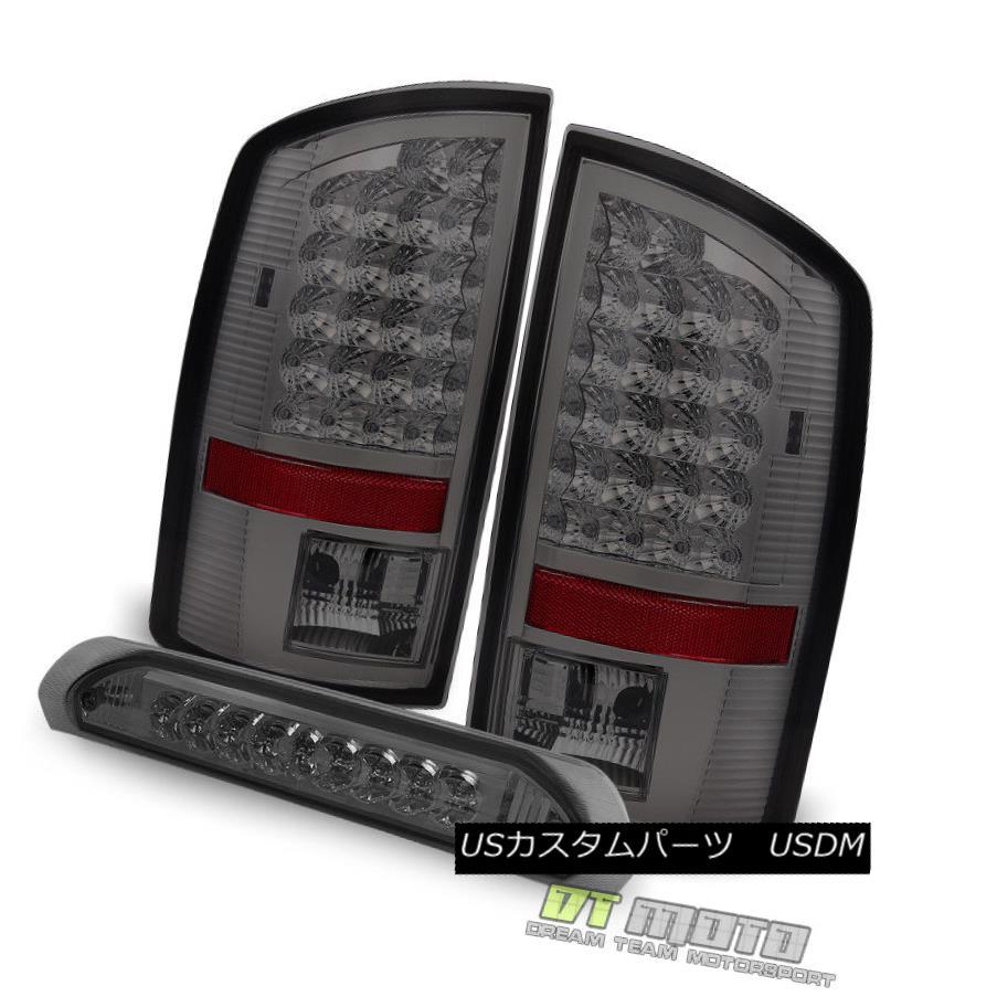 テールライト Smoked 07-08 Dodge Ram 1500/ 07-09 2500 3500 LED Tail Lights +LED 3rd Brake Lamp スモーク07-08ダッジラム1500 / 07-09 2500 3500 LEDテールライト+ LED第3ブレーキランプ