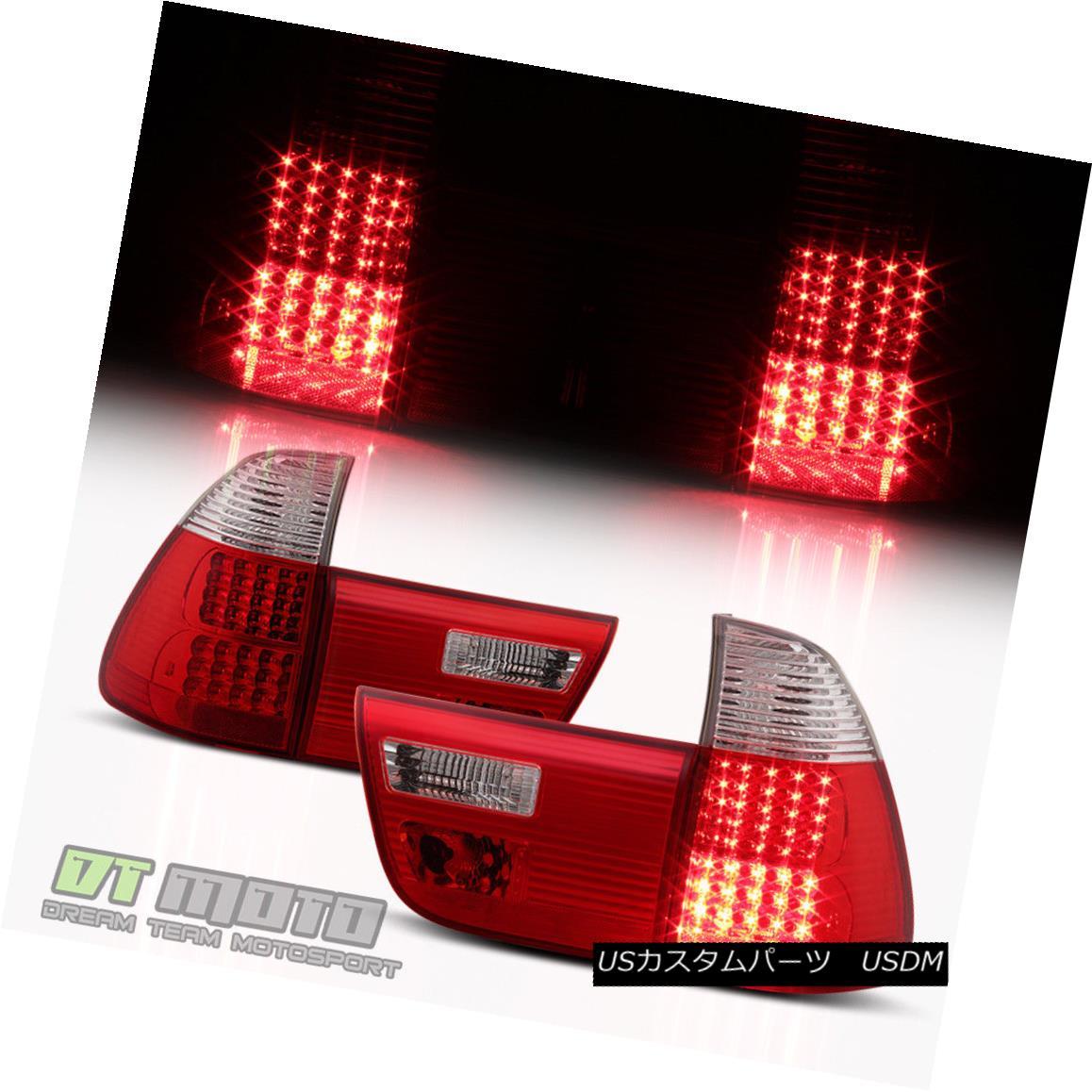 テールライト 2000-2006 BMW E53 X5 Exotic Red LED Tail Lights Brake Lamps 00-06 Set Left+Right 2000-2006 BMW E53 X5エキゾチックレッドLEDテールライトブレーキランプ00-06セット左+右