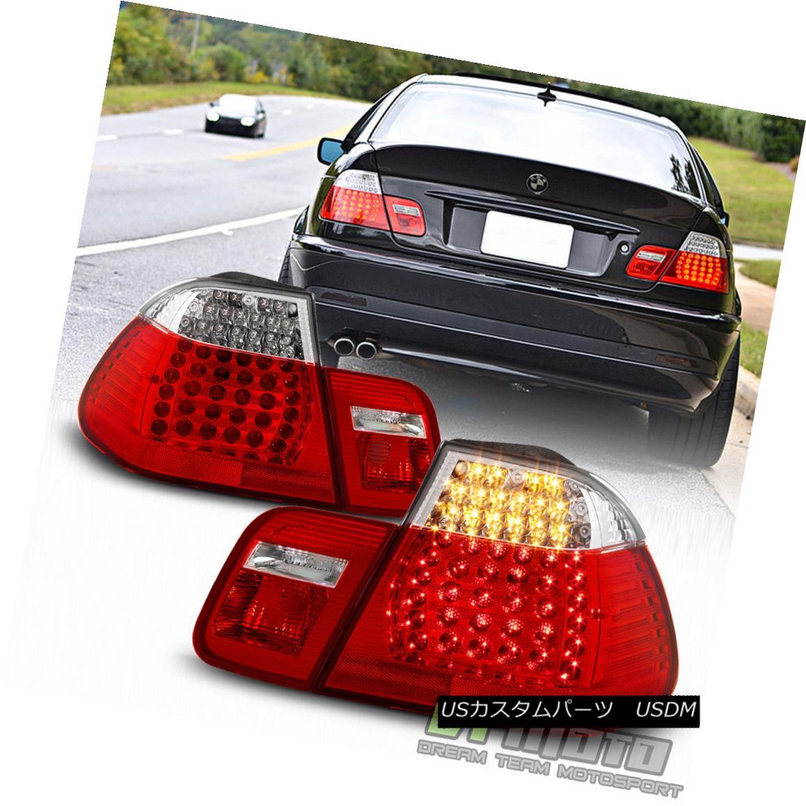 テールライト 2002-2005 BMW E46 320i 325i 330i 3-Series Sedan Red Clear LED Tail Lights 02-05 2002-2005 BMW E46 320i 325i 330i 3シリーズセダンレッドクリアLEDテールライト02-05