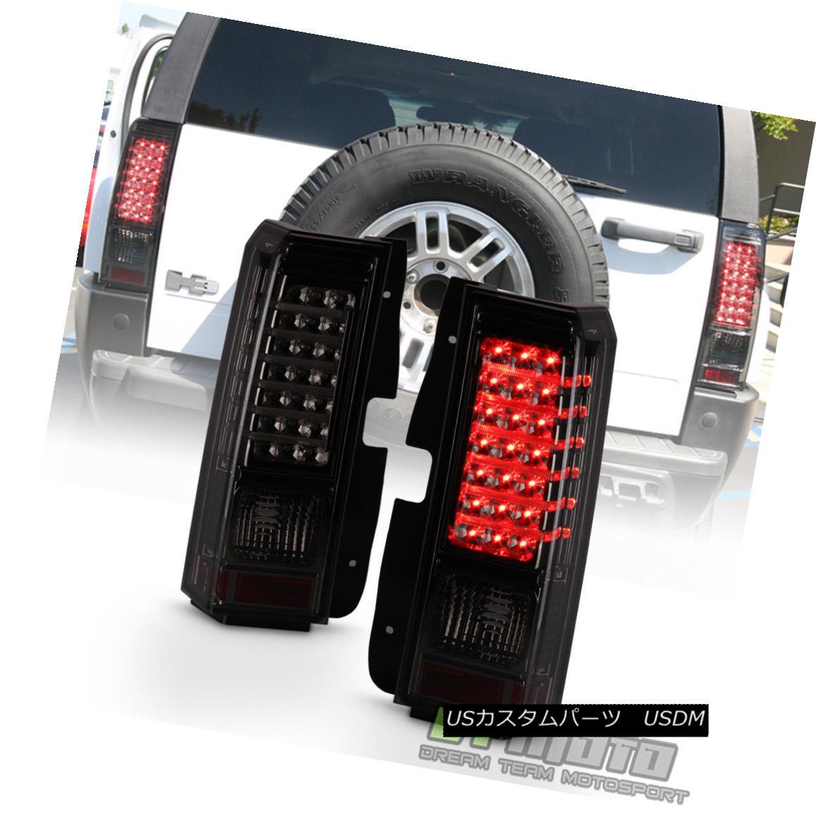 テールライト 2006-2010 Hummer H3 Smoked LED Tail Lights Brake Lamps w/ LED Bar Left+Right Set 2006-2010 Hummer H3スモークLEDテールライトブレーキランプ(LEDバー付き)左+右セット