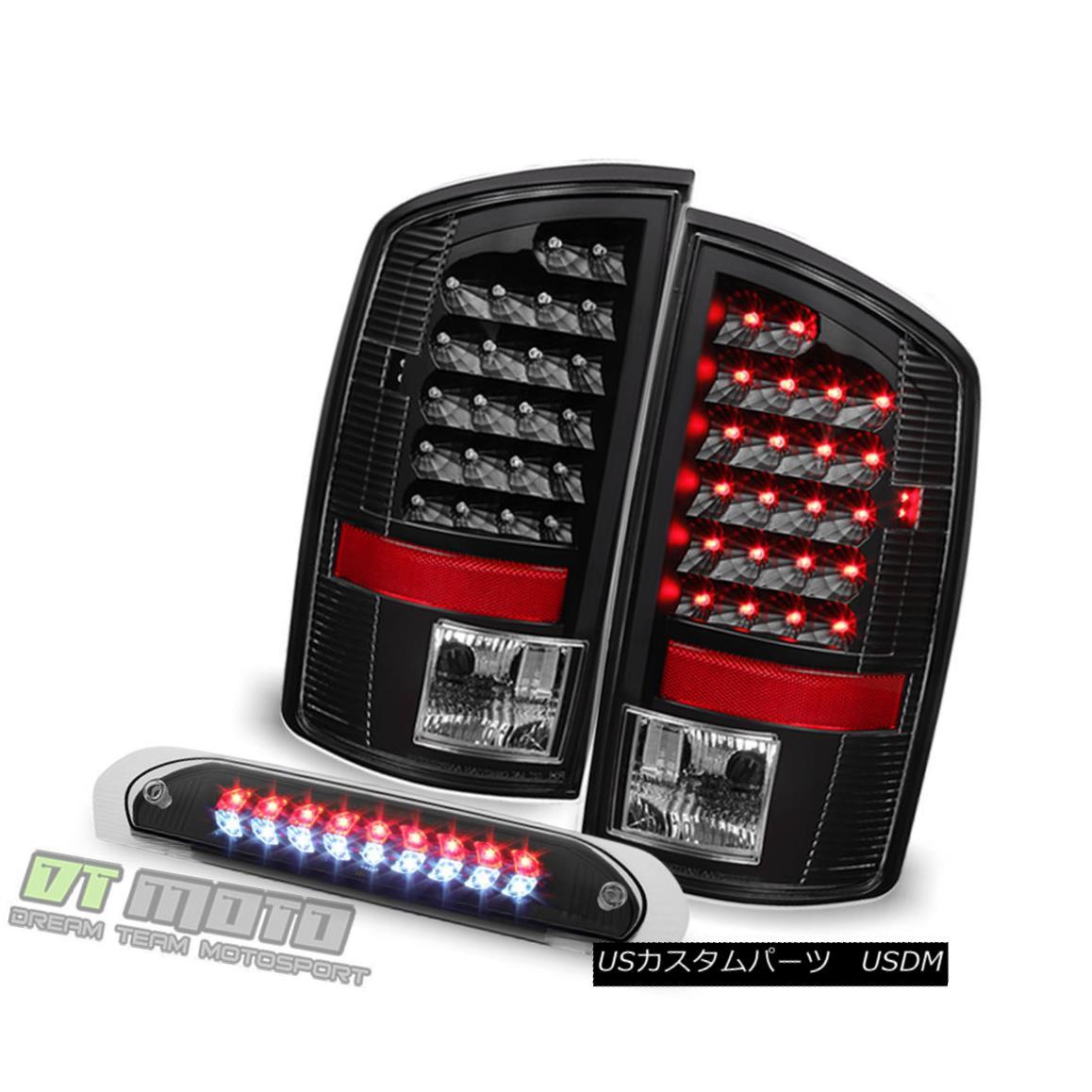 テールライト Black 2007-2009 Dodge Ram 1500 LED Tail Lights+3rd Brake Cargo Lamps Left+Right ブラック2007-2009ダッジラム1500 LEDテールライト+第3ブレーキカーゴランプ左+右