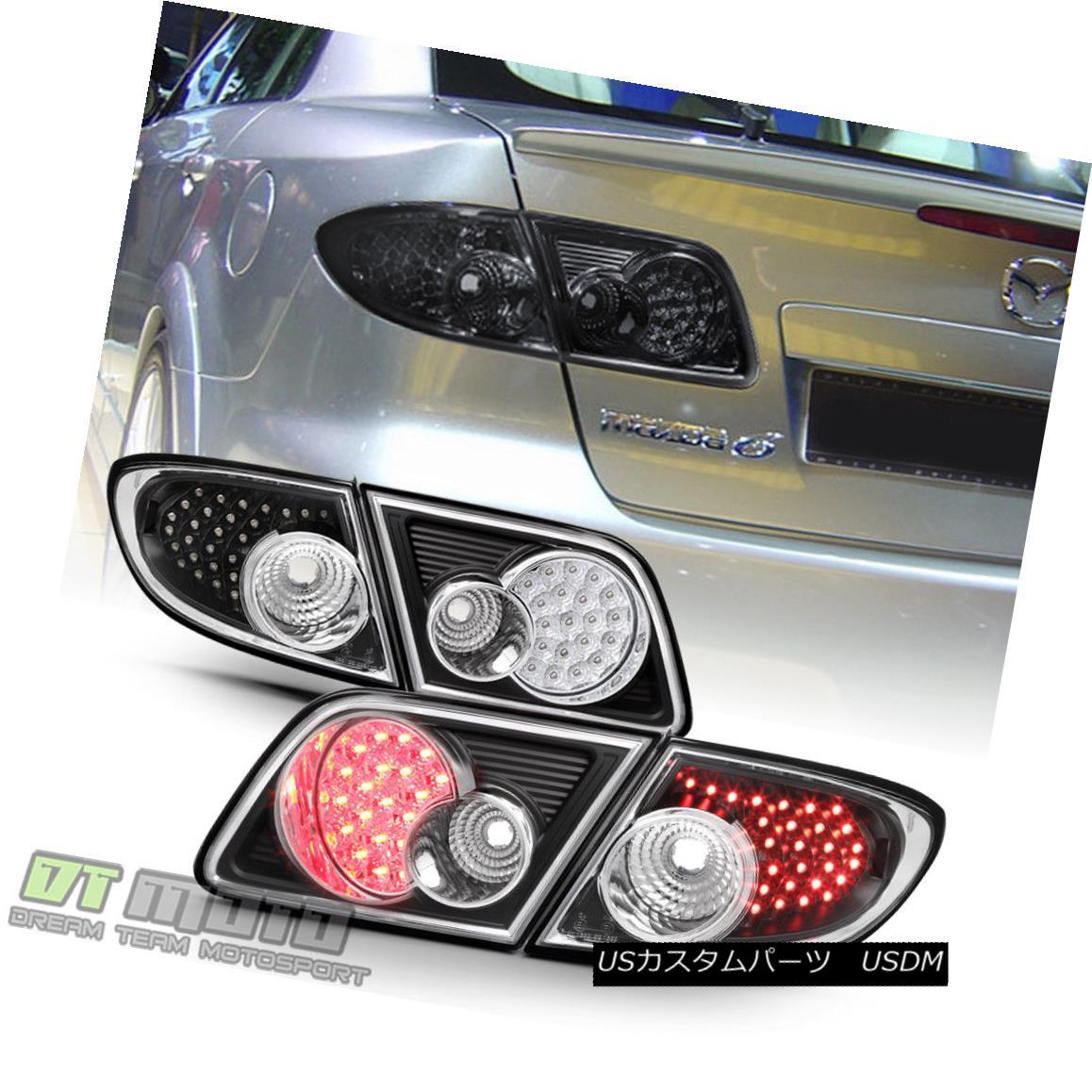 テールライト 2003-2008 Mazda6 4-Door Sedan Black LED Tail Lights Brake Lamps Left+Right 4Pcs 2003-2008 Mazda6 4ドアセダンブラックLEDテールライトブレーキランプ左右+ 4個
