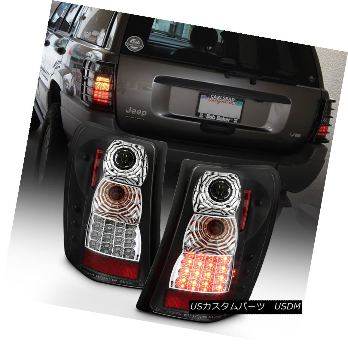 テールライト 1999-2004 Jeep Grand Cherokee Black Philips LED Tail Lights Lamps Left+Right 1999-2004 Jeep Grand Cherokee Black Philips LEDテールライトランプ左+右