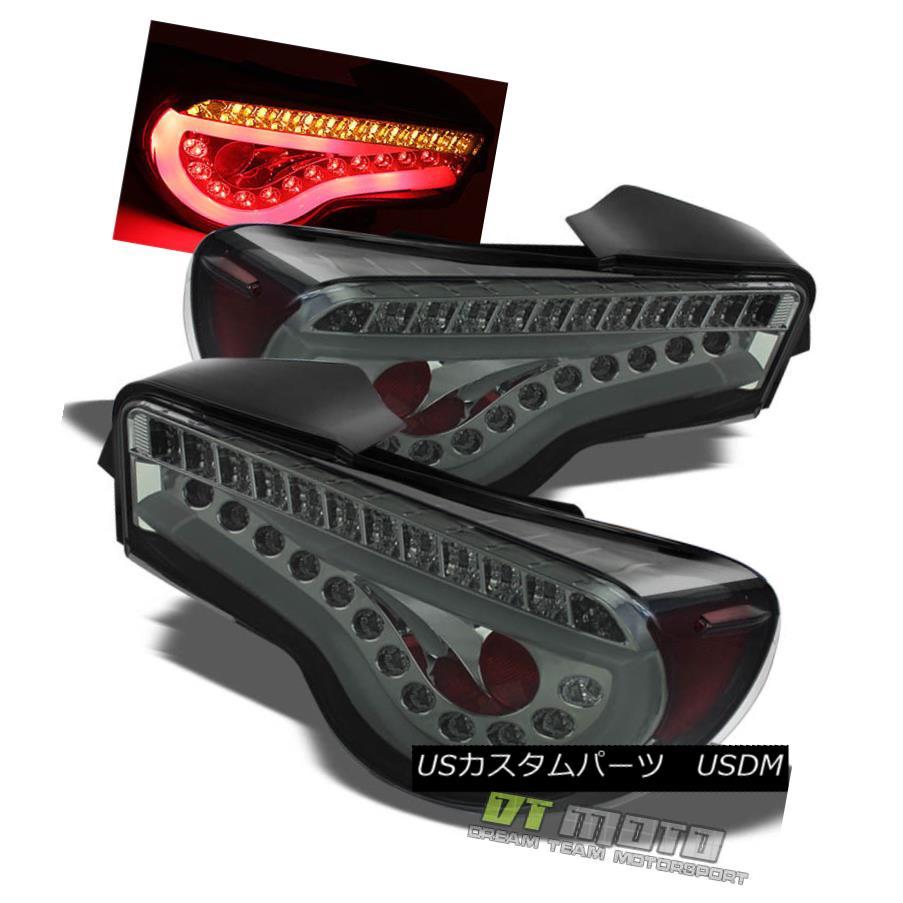 テールライト Smoked 2012-2016 Scion FRS FR-S Subaru BRZ Light Tube Tail Lamps w/LED Strip Bar スモーク2012-2016シオンFRS FR-SスバルBRZライトチューブテールランプ(LEDストリップバー付)
