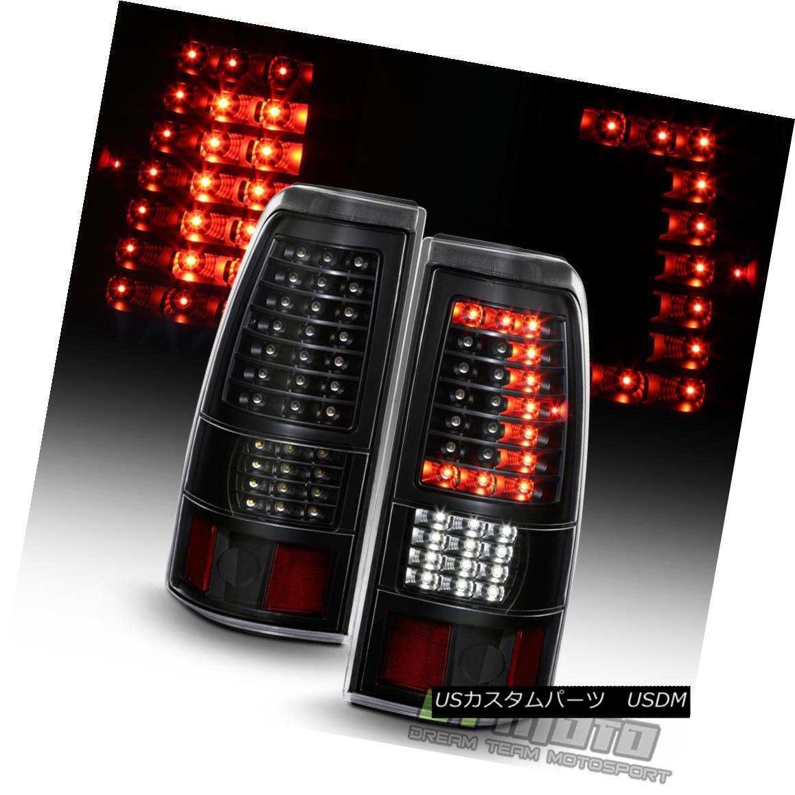 テールライト Black 1999-2002 Chevy Silverado 99-06 Sierra C-Strip Full LED Tail Lights Lamps ブラック1999-2002シボレーシルバラード99-06シエラC-ストリップフルLEDテールライトランプ