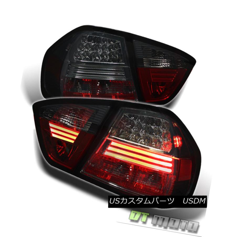 テールライト Smoked 2005-2008 BMW E90 3-Series Sedan Lumileds Tail Lights w/LED Strip Lamps スモーク2005-2008 BMW E90 3シリーズセダンLumiledsテールライトLEDストリップランプ