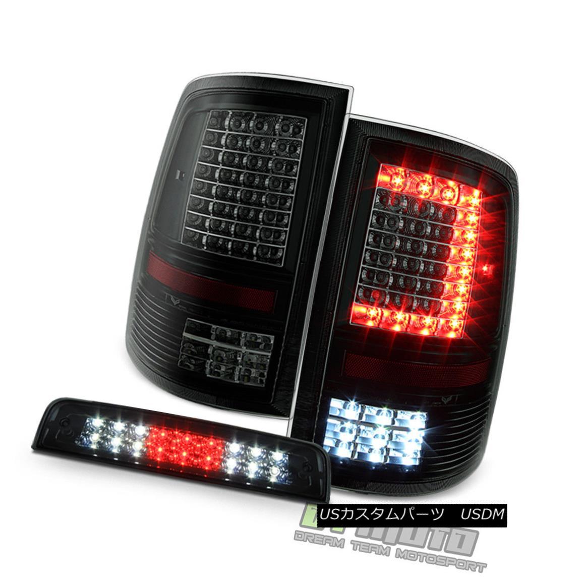 テールライト 2009-2017 Dodge Ram 1500 2500 Blk Smoke LED Tail Lights+LED 3rd Brake Cargo Lamp 2009-2017 Dodge Ram 1500 2500 BlkスモークLEDテールライト+ LED第3ブレーキカーゴランプ