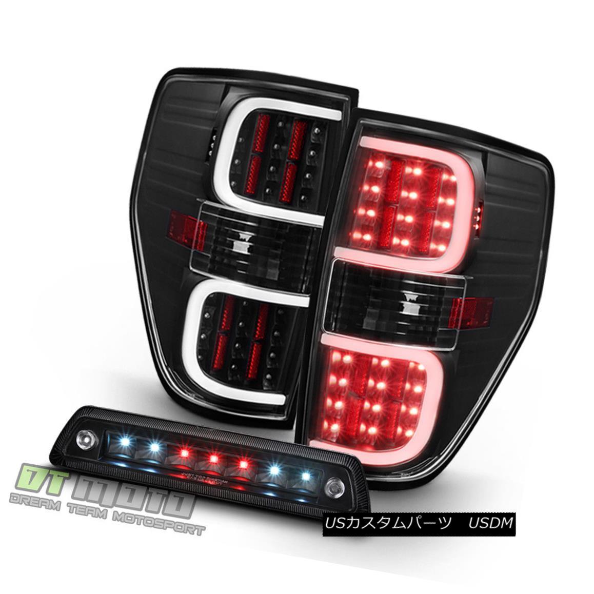 テールライト Black 2009-2014 Ford F150 LED Dual Tube Tail Lights+LED 3rd Brake Cargo Lamp Set ブラック2009-2014フォードF150 LEDデュアルチューブテールライト+ LED第3ブレーキカーゴランプセット