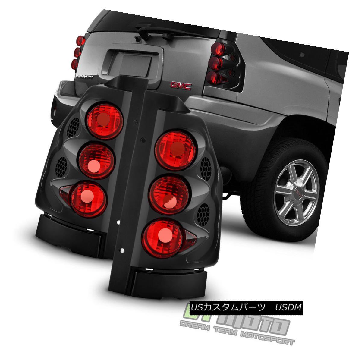 テールライト Black 2002-2009 GMC Envoy/ Envoy XL Tail Lights Brake Lamps 02-09 Set Left+Right ブラック2002-2009 GMCエンボイ/エンボイXLテールライトブレーキランプ02-09セット左+右