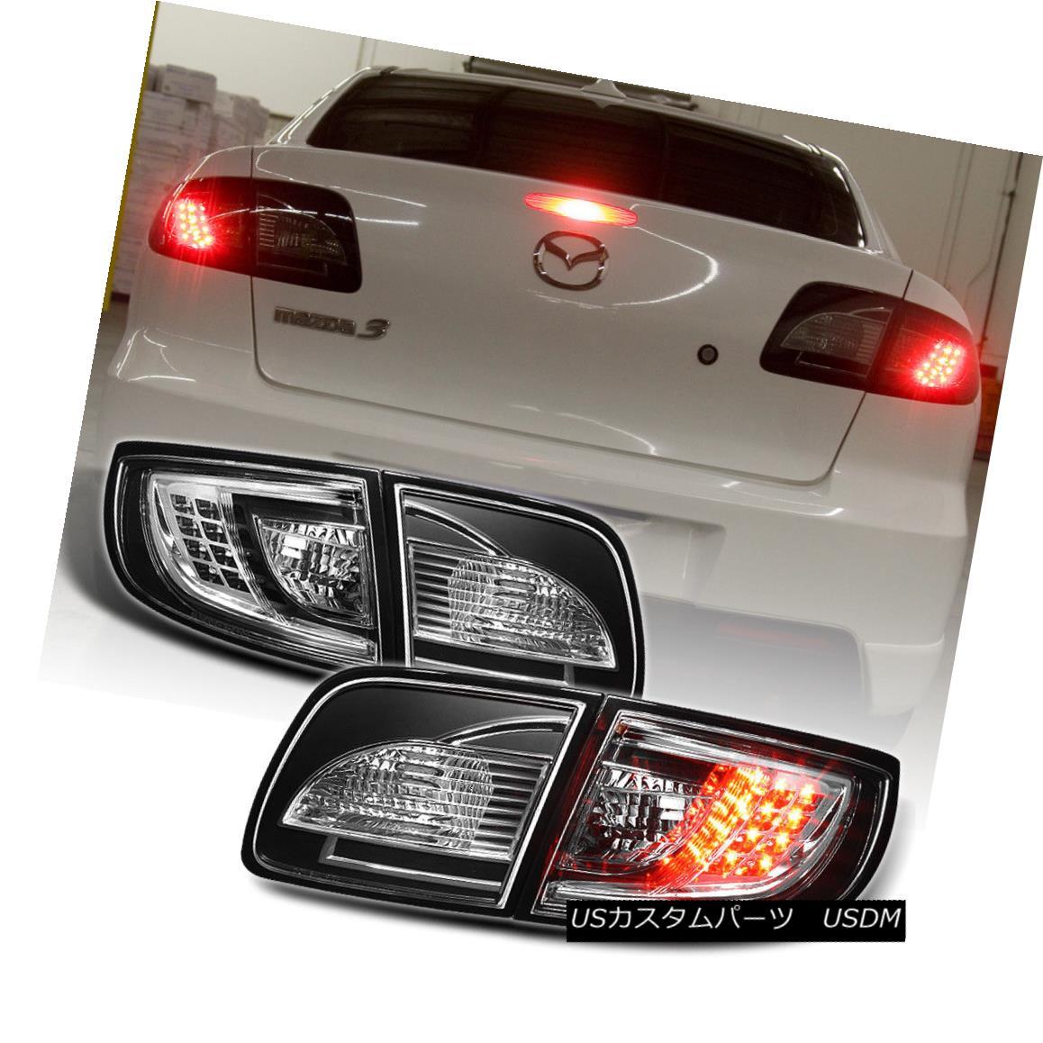 テールライト Black 2003-2008 Mazda 3 Mazda3 Lumileds LED Tail Lights Brake Lamps Left+Right 黒2003-2008マツダ3 Mazda3 Lumileds LEDテールライトブレーキランプ左+右