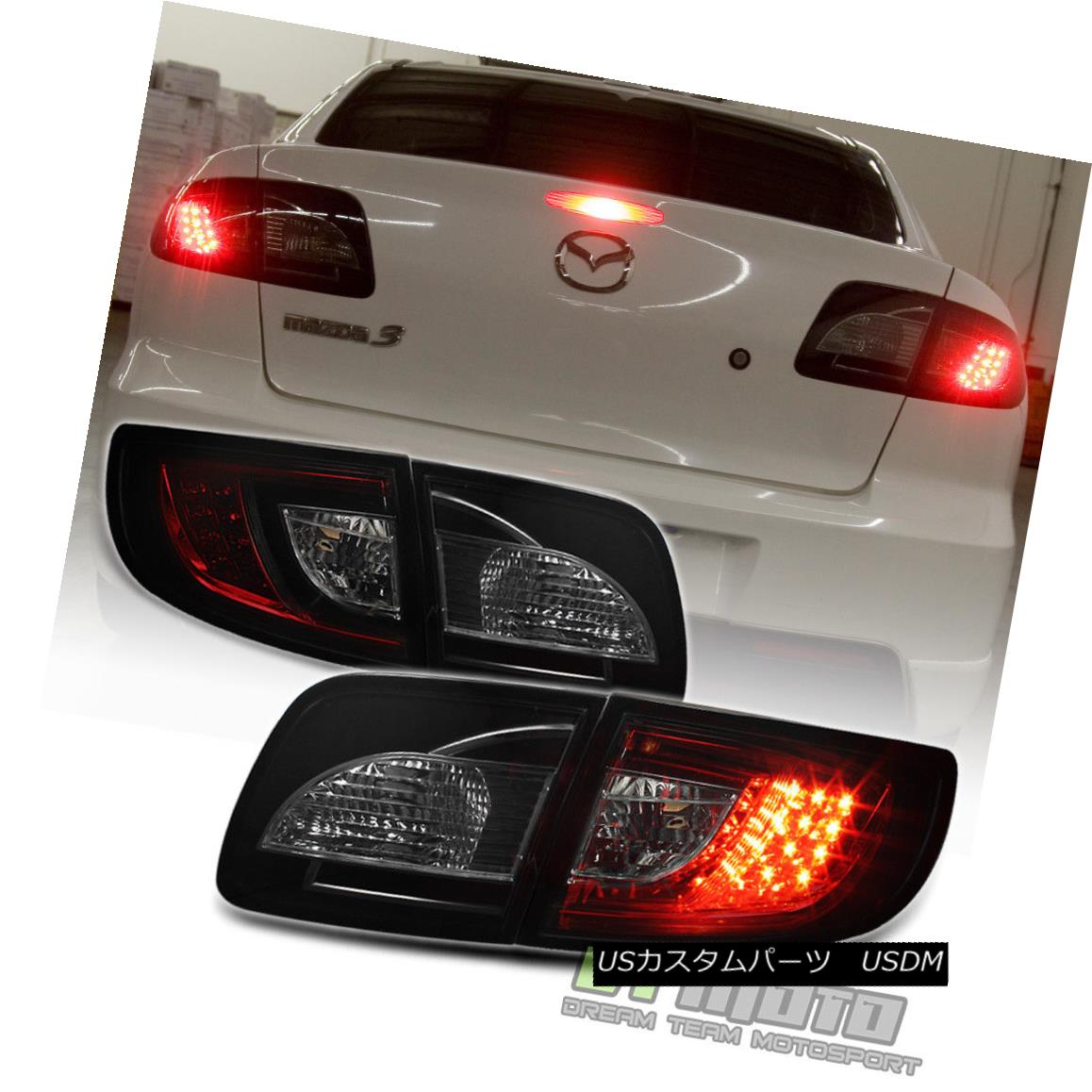 テールライト 2003-2008 Mazda 3 Mazda3 Lumileds LED Red Smoked Tail Lights Lamps Left+Right 2003-2008マツダ3 Mazda3 Lumileds LEDレッドスモークテールライトランプ左+右