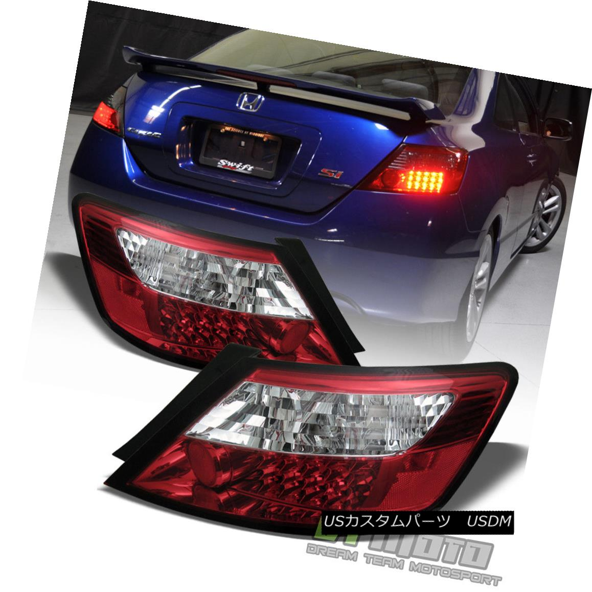 テールライト For 2006-2011 Honda Civic Coupe Lumileds LED Red Clear Tail Lights Brake Lamps 2006?2011年ホンダシビッククーペLumileds LEDレッドクリアテールライトブレーキランプ