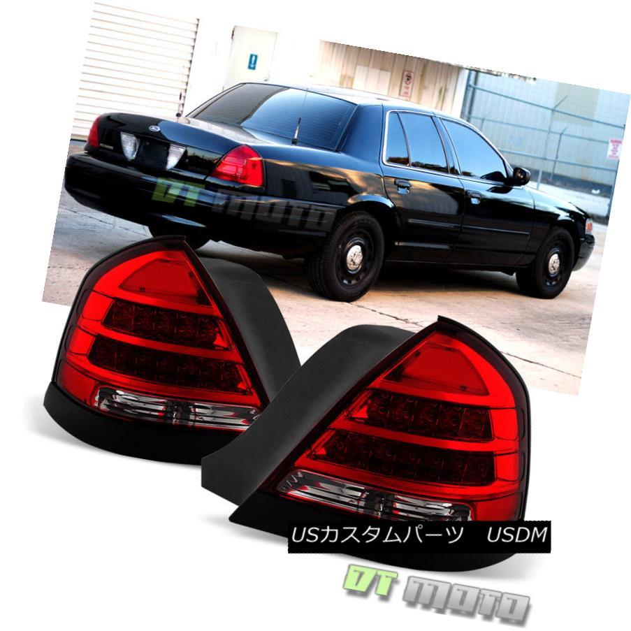 テールライト 1998-2011 Ford Crown Victoria LED Tail Lights Lamps Black Trims 98-11 Left+Right 1998?2011年フォードクラウンビクトリアLEDテールライトランプブラックトリム98-11左+右