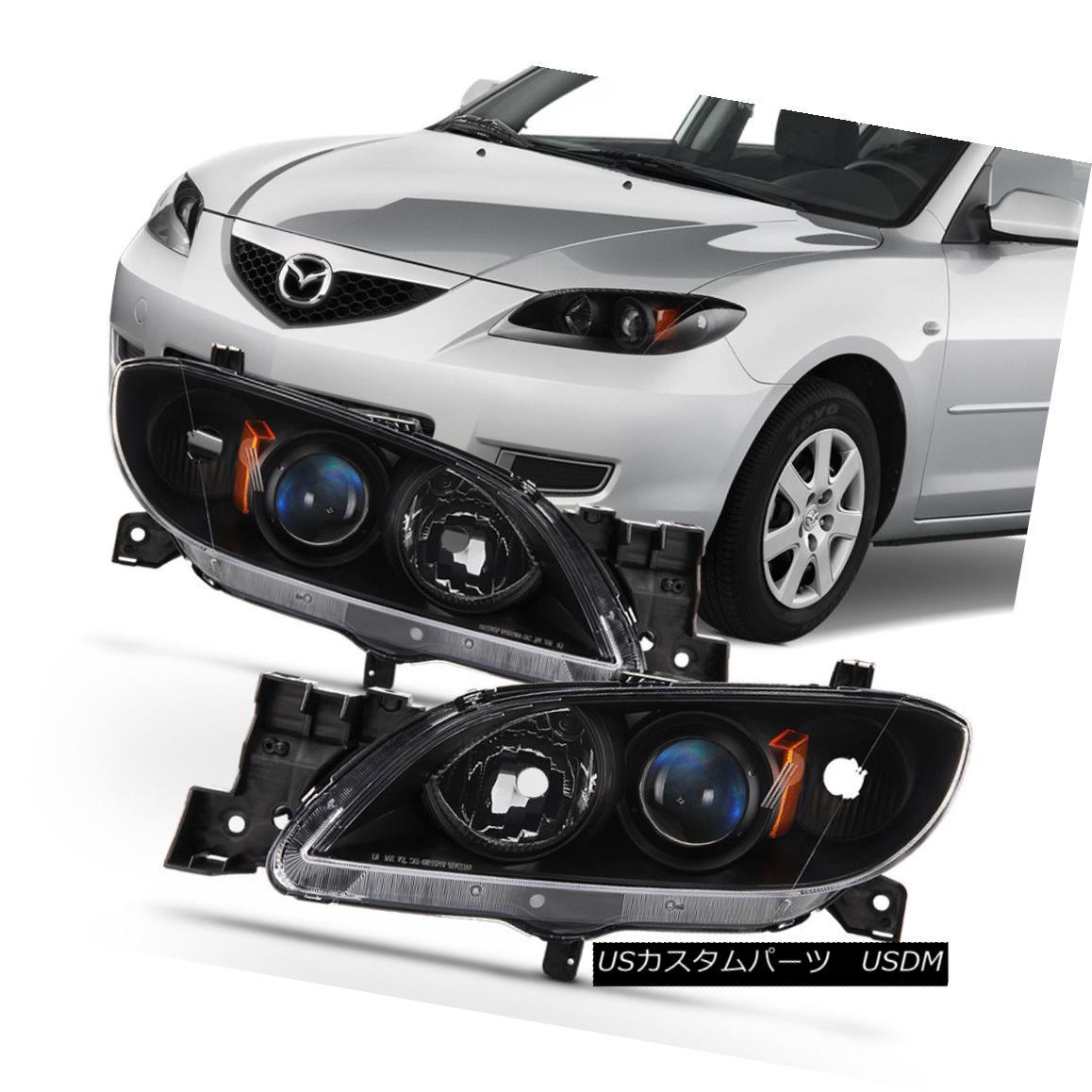 テールライト Black 2004-2009 Mazda 3 Sedan Headlights Halogen Projector Headlamps Left+Right 黒2004-2009マツダ3セダンヘッドライトハロゲンプロジェクターヘッドランプ左+右