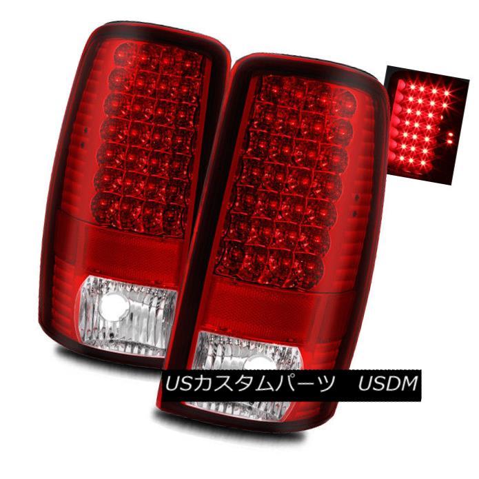 テールライト For 00-06 Chevy Suburban/Tahoe Red Clear LH/RH LED Tail Lights Rear Brake Lamps 00-06シボレー郊外/タホレッドクリアLH / RH LEDテールライトリアブレーキランプ
