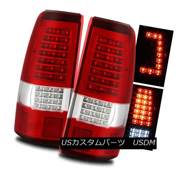 テールライト For 03-06 Silverado/04-06 Sierra Red Clear C-Shaped LED Tail Lights Brake Lamps 03-06 Silverado / 04-0 6シエラレッドクリアC型LEDテールライトブレーキランプ
