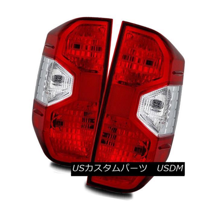 テールライト For 14-17 Toyota Tundra Red Clear Left/Right Tail Lights Rear Brake Lamps Set 14-17トヨタのトンドラレッドクリア左右のテールライトリアブレーキランプセット