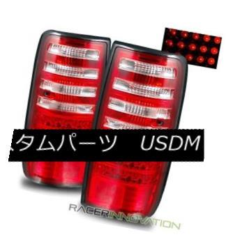 テールライト For 91-97 Toyota Land Cruiser Euro Red Clear LED Tail Lights Rear Brake Lamps 91-97トヨタランドクルーザーユーロレッドクリアLEDテールライトリアブレーキランプ