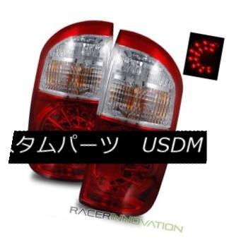 テールライト For 04-06 Toyota Tundra Double Cab Euro Red Clear LED Tail Lights Brake Lamps 04-06用トヨタツンドラダブルキャブユーロレッドクリアLEDテールライトブレーキランプ