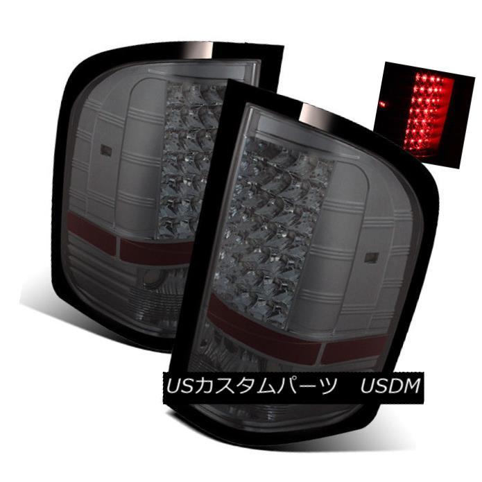 テールライト For 07-13 Silverado/07-14 2500HD/3500HD Smoke LH/RH LED Tail Lights Brake Lamps 07-13 Silverado / 07-1 4 2500HD / 3500HDスモークLH / RH LEDテールライトブレーキランプ