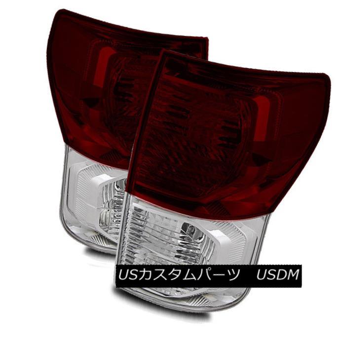 テールライト For 10-13 Toyota Tundra Dark Red/Clear Left/Right Tail Lights Rear Brake Lamps 10-13トヨタトンドラ用ダークレッド/クリア左/右テールライトリアブレーキランプ