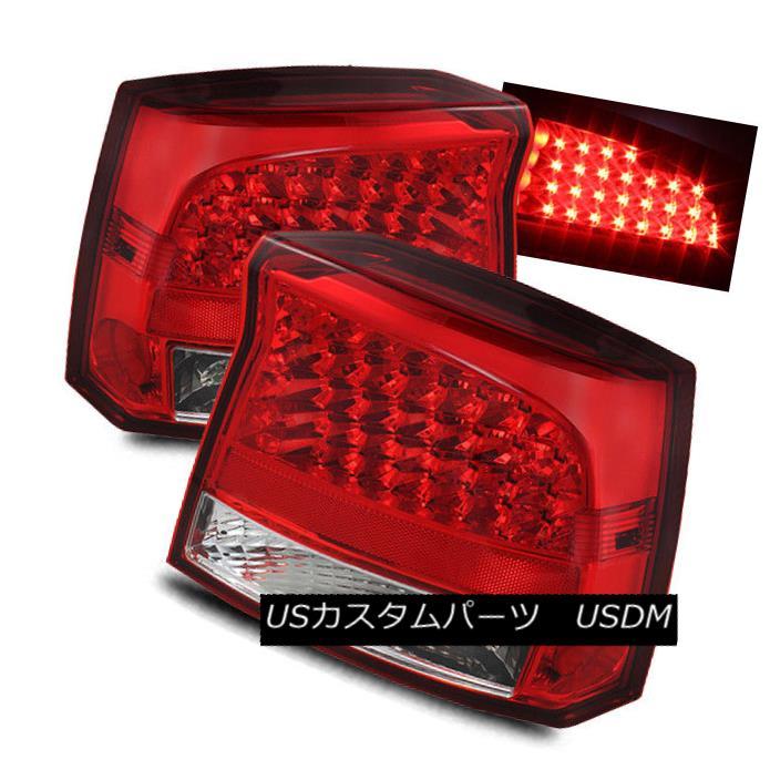 テールライト For 06-08 Dodge Charger Red Clear Left/Right LED Tail Lights Rear Brake Lamps 06-08ダッジチャージャー赤クリア左/右LEDテールライトリアブレーキランプ