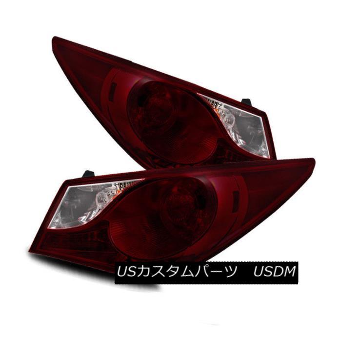 テールライト For 11-13 Sonata Dark Red/Clear Left/Right Tail Lights Rear Brake Lamps Assembly 11-13ソナタ用ダークレッド/クリア左/右テールライトリアブレーキランプアセンブリ