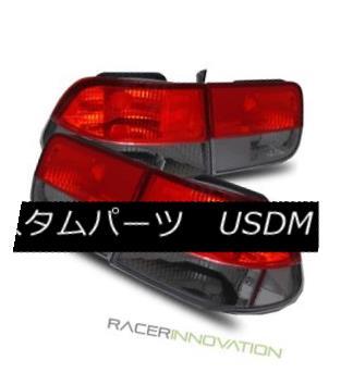 テールライト For 96-00 Honda Civic EK 2DR Coupe Euro Red Smoked Tail Lights Brake Lamps 96-00ホンダシビックEK 2DRクーペユーロレッドスモークテールライトブレーキランプ