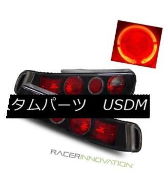 テールライト For 90-93 Acura Integra DA 2 Door Coupe Black Halo Tail Lights Brake Lamps 90-93用Acura Integra DA 2ドアクーペブラックハローテールライトブレーキランプ