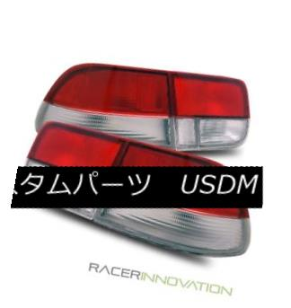 テールライト For 96-00 Honda Civic EK 2DR Coupe JDM Red Clear Si Style Tail Lights Brake Lamp 96-00ホンダシビックEK 2DRクーペJDMレッドクリアシアーテールライトブレーキランプ