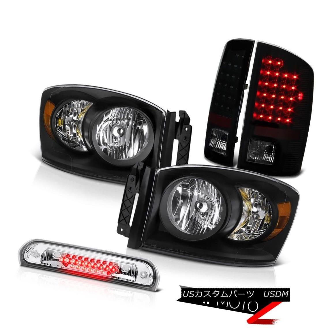 テールライト 2006 Dodge Ram Black Headlamps LED Tail Lights Lamps High Brake Cargo 2006ダッジラムブラックヘッドランプLEDテールライトランプハイブレーキカーゴ