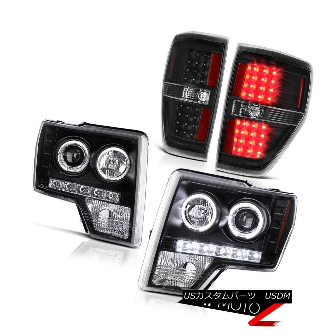 テールライト 09 10 11 12 13 14 Ford F150 Headlights Quad Halo DRL LED Signal Brake Tail Light 09 10 11 12 13 14 Ford F150ヘッドライトQuad Halo DRL LED信号ブレーキテールライト