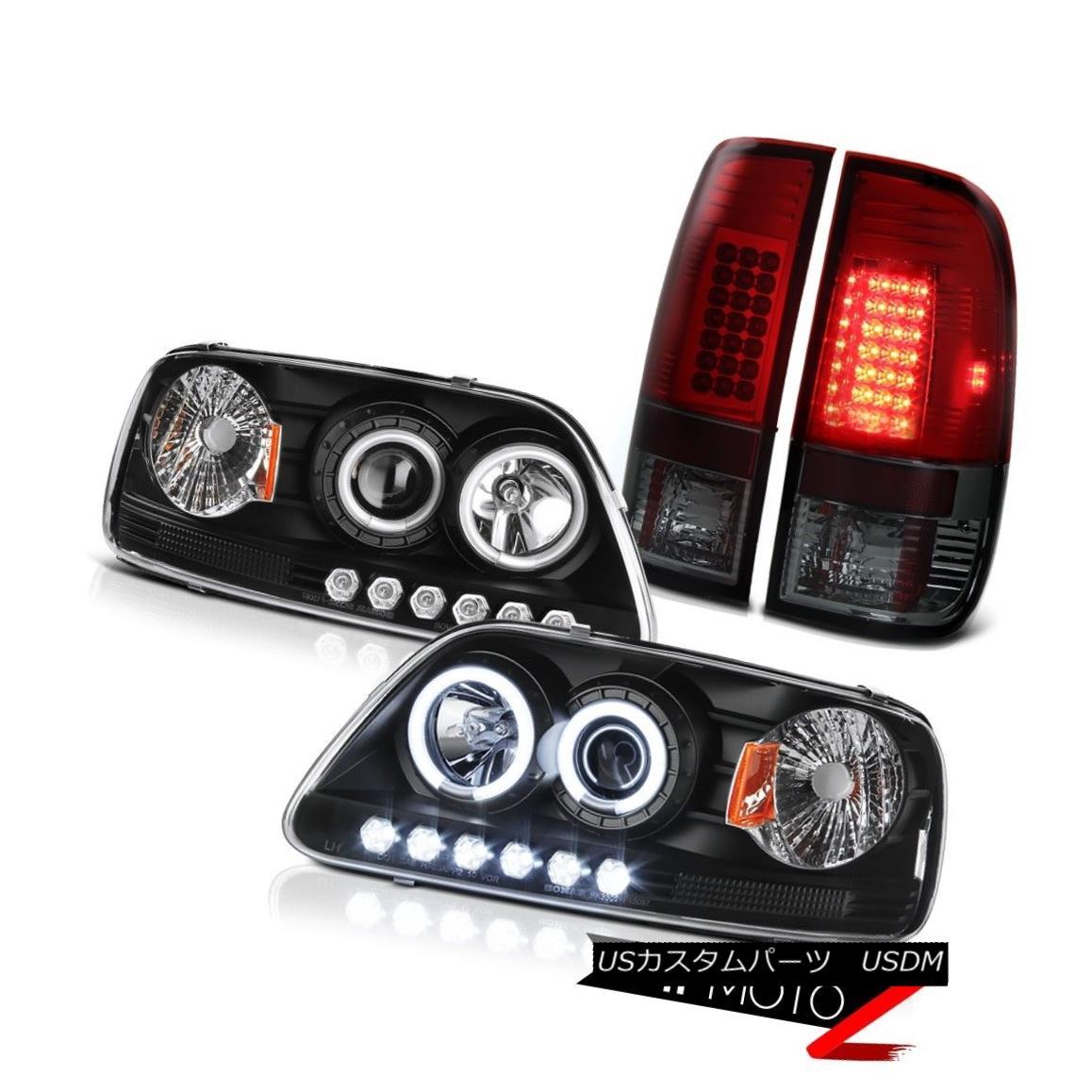 テールライト F150 Hertiage 1999 2000 2001 Black CCFL Halo Headlight LED Smokey Red Brake Lamp F150 Heritage 1999 2000 2001ブラックCCFL HaloヘッドライトLEDスモーキーレッドブレーキランプ