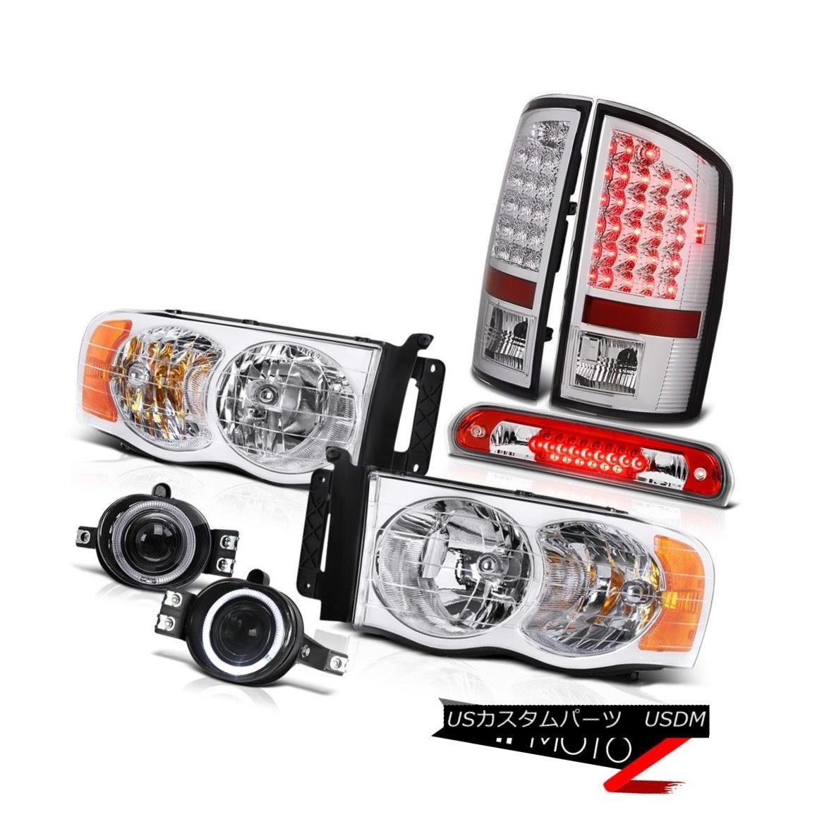 テールライト 02 03 04 05 Ram PowerTech Chrome Headlights LED Halo Projector Fog 3rd Brake Red 02 03 04 05 Ram PowerTechクロームヘッドライトLEDハロープロジェクターフォグ第3ブレーキ赤