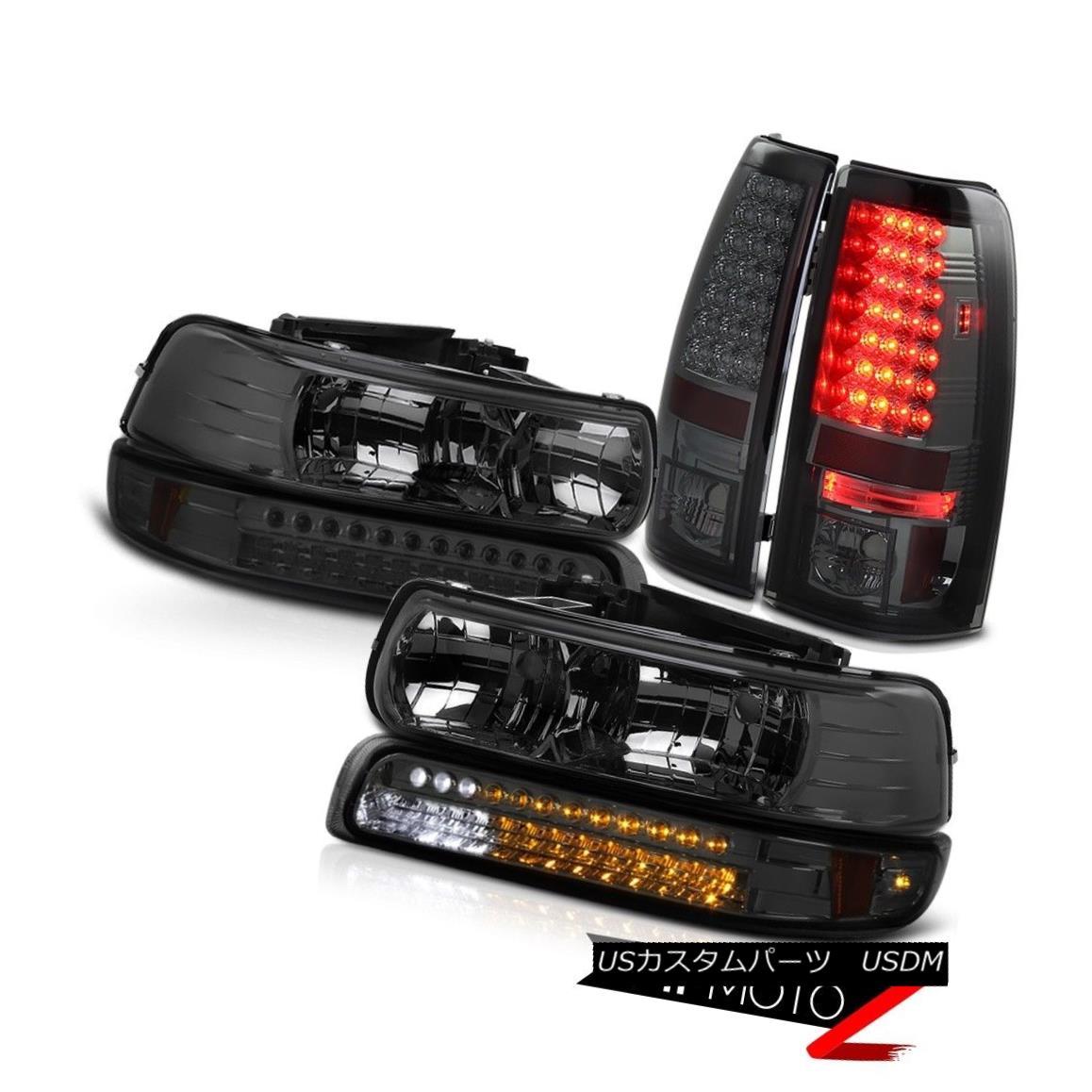 テールライト 99-02 Chevy Silverado WT Base Smoke Headlamps Bumper Corner LED Smoked Taillamps 99-02シボレーシルバラードWTベーススモークヘッドランプバンパーコーナーLEDスモークトライアン