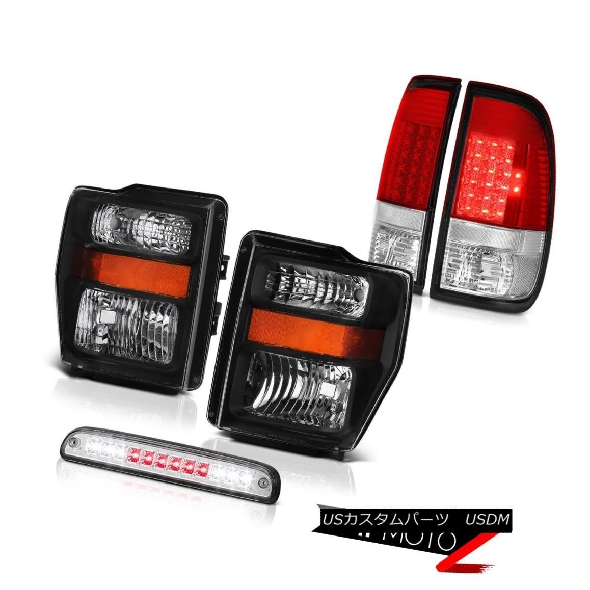テールライト 08 09 10 F350 6.8L Black Headlights Bright L.E.D Taillamps Roof Stop Clear 3rd 08 09 10 F350 6.8LブラックヘッドライトブライトL.E.Dタイルランプルーフストップクリア3rd