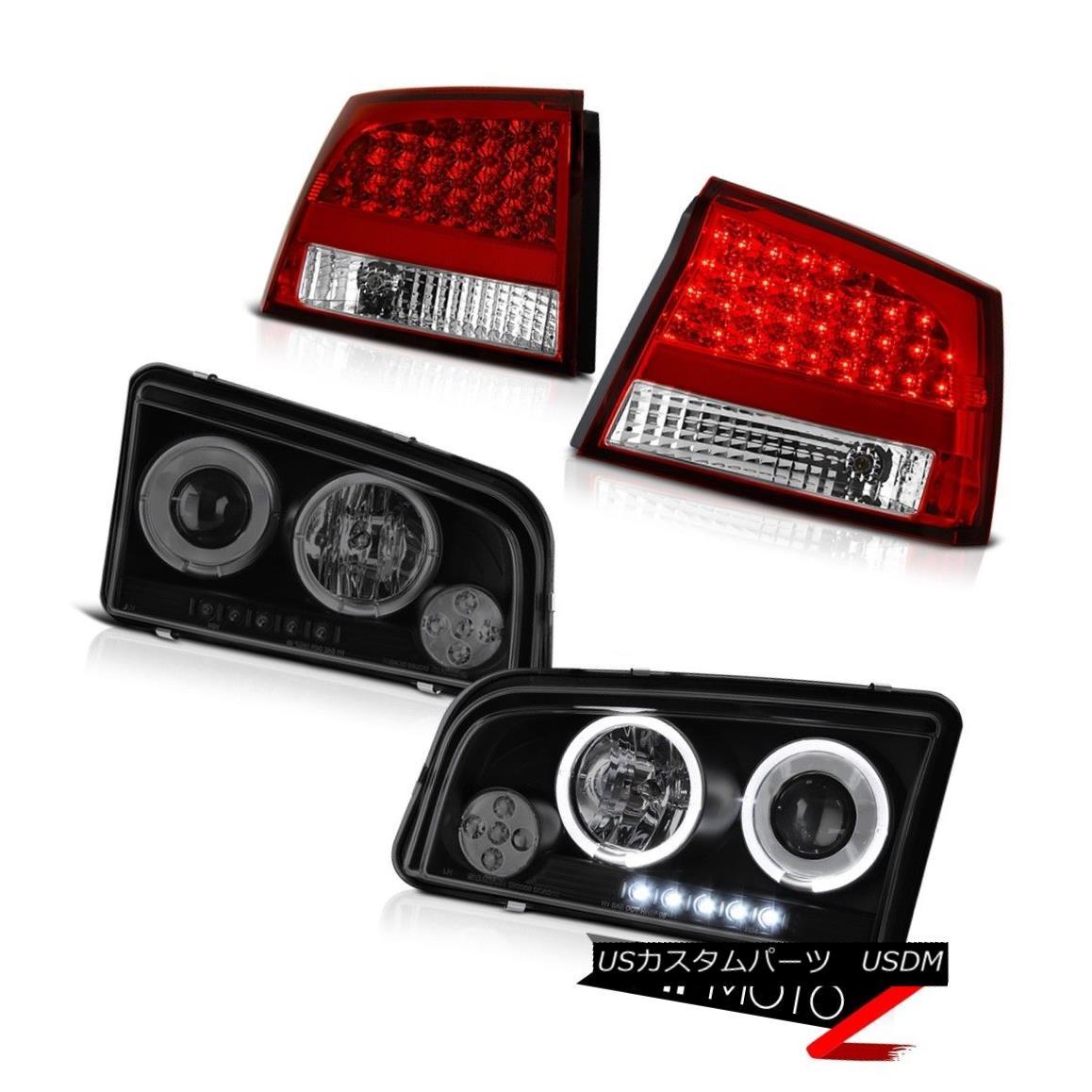 テールライト 2006 2007 2008 Charger 5.7L 2X Halo LED Projector Headlights Red LED Tail Lights 2006 2007 2008充電器5.7L 2X Halo LEDプロジェクターヘッドライト赤色LEDテールライト